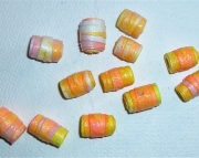 Handcrafted Paper Beads Peach, Yellow, Pink and White Spiral Barrels (Set of 12)