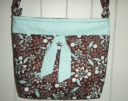 Turquoise & Brown Floral Cross Body Bag (LT)