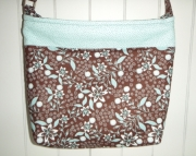 Turquoise & Brown Floral Cross Body Bag