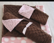 Pink Dots Brown Minky
