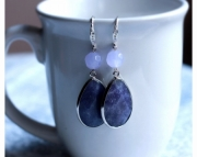 Charoite Gemstone Briolette Earrings
