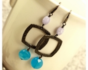 Blue and Purple Square Earrings