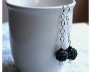 Black Ball Dangle Earrings