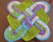 2 Sailors Knot Dishcloth Hot Paddoily Violet Stripes  Hot Green