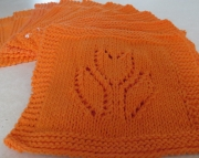 2 Dishcloth Knitted Tulip Hot Orange