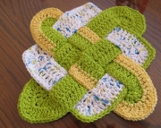 Sailors Knot Dishcloth Hotpad Doliy Summer Print and Hot Green