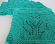 2 Dishcloths Knitted Tulip Mod Green