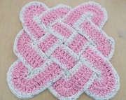 Sailors Knot Dishcloth Hotpad Doily Country Pink and Ecur