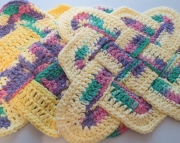 2 Sailors Knot Dishcloth Hotpad Doily Rainbow Bright  Yellow