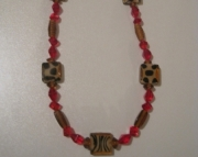 Rockabilly Couture Animal Print and Red Statement Necklace