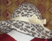 Leopard Cheetah Print Rockabilly Couture Double Fleece Rimmed Winter Hat