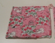 Kitty Kat and Cherries Flannel Quilted Potholders