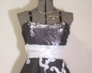 Black and White Ribbon Rosette Party Dress