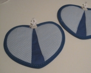 Blue Heart Potholders