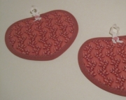 Quilted Heart Shaped Dark Pink and Red Potholders