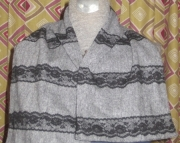 Black and Gray Cream Tweed Lace Trimmed Scole