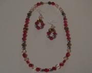 Chrome Trimmed Hot Rod Valentine Sweetheart Necklace and Earrings Set