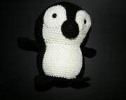 Black and white crocheted penguin