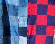 Denim squares rag quilt