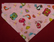 Pink Owls Over Collar Bandana-m