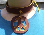 Rustic Raw Hide Leather Peace Sign Choker