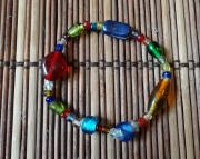 multicolored glass beaded bracelet