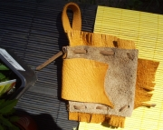 Gold and beige suede leather medicine belt pouch