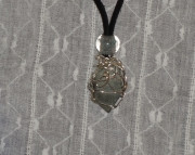 Blue Wire Wrapped Michigan Stone Necklace