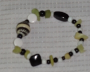 black white and lime green peridot chunk beaded bracelet