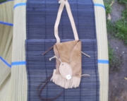 Twotoned tan leather medicine belt pouch