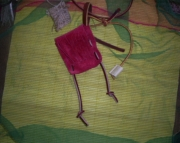 Red suede leather spirit pouch  with burlap herb pouch