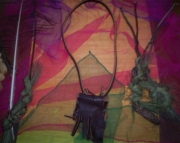 Dark brown fringed spirit pouch necklace