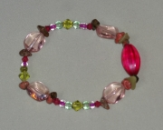 fancy pink and green bracelet