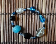 black, white and blue glass beaded bracelet
