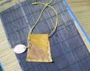 gold suede long handled medicine pouch