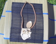 Tan leather spirit pouch necklace with burlap herb pouch