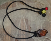 Red Triangle Michigan Stone Wire Wrapped Necklace