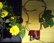 Red Suede and Brown Leather Spirit Pouch Necklace with Burlap Herb Pouch