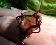 Metallic Red Wire Wrapped Michigan Stone Ring