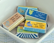 18 PRINTED Boy Baby Shower Mini Candy Bar Wrappers Personalized Boy Baby Shower Stickers