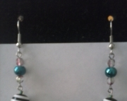 Black Striped Dangle Earring
