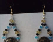 Blue and Gold Tear Drop Earring