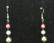 Three Toned Pearl Earrings