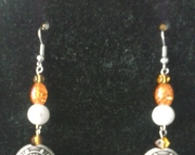 Orange and White Dangle Charm Earring