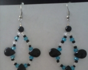 Black and Blue Tear Earrings