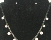 Pink and Grey Charm Necklace