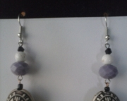Purple and White Charmed Earring
