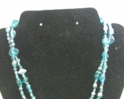 Two Strand Blue Glass Necklace