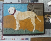 Pit Bull in Yard Painting
