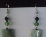 Green and Crystal Earring